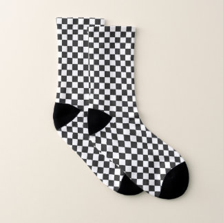 Black and White Checkered Design Socks 1