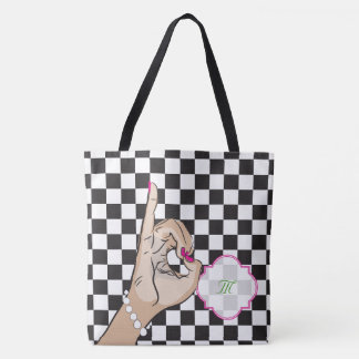 Black and white checkered girly bag