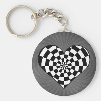 Black and white checkered heart basic round button key ring