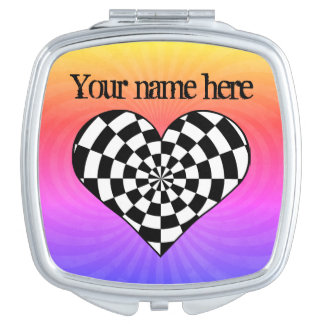 Black and white checkered heart mirrors for makeup