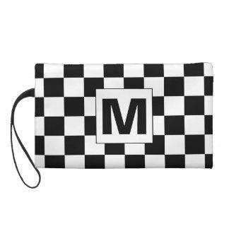 Black and White Checkered Monogram Bagettes Bag Wristlet Purses