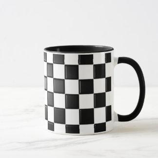 Black and white checkered mug