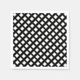 Black and White Checkered Pattern Disposable Serviette