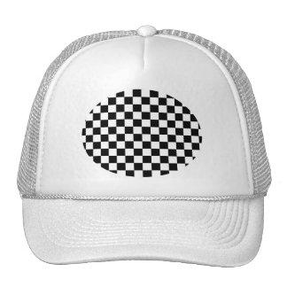 Black and white checkered pattern trucker hat