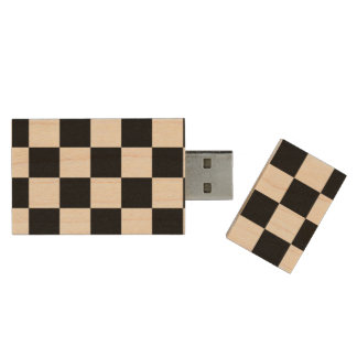 Black and White Checkered Pattern Wood USB 3.0 Flash Drive