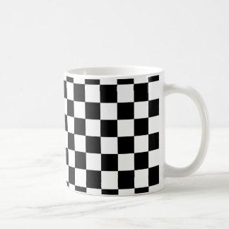Black and white checkered pattern mug