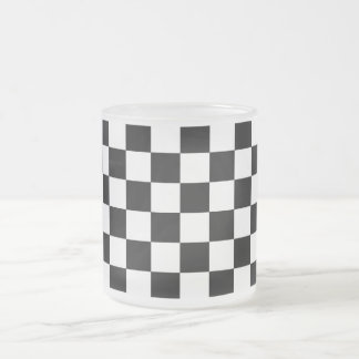 Black and white checkered pattern coffee mugs