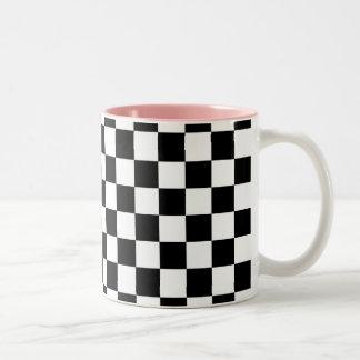 Black and white checkered pattern mugs
