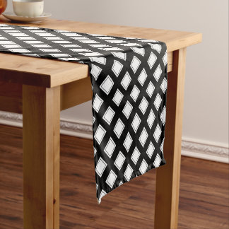 Black and White Checkered Pattern Short Table Runner