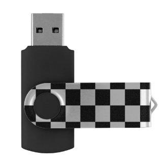 Black and White Checkered Pattern Swivel USB 3.0 Flash Drive