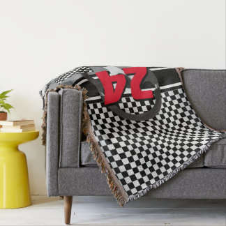 Black and White Checkered Racing Design Throw Blanket