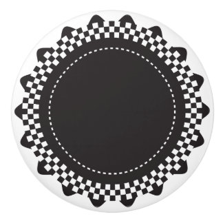 Black and White Checkered Scallop Ceramic Knob