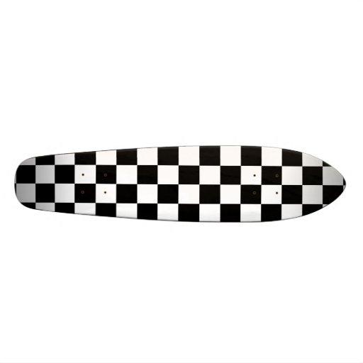 Black and White Checkered Squares Custom Skate Board