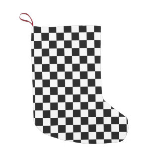 Black and white Checkered Squares Small Christmas Stocking