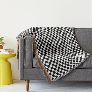 Black and White Checkered Squares Throw Blanket