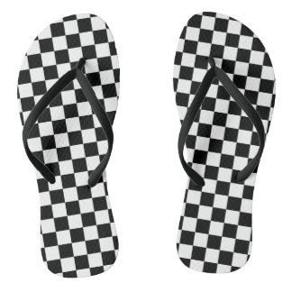 Black and White Checkers at the Beach Thongs