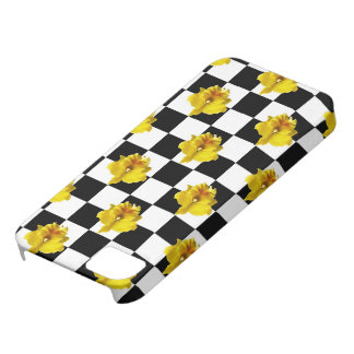 Black and White Checks with Yellow Orchid Barely There iPhone 5 Case