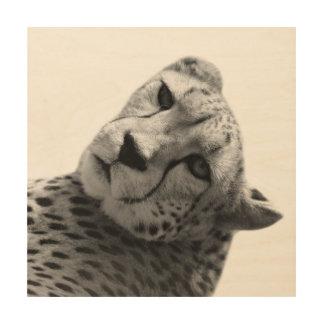 Black and white cheetah jungle animal photo wood wall decor