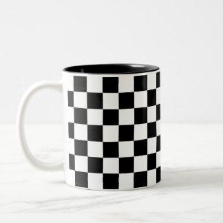 Black and White Chequerboard Two-Tone Coffee Mug