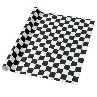 Black and White Chequerboard Wrapping Paper