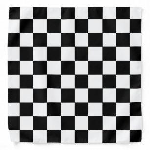 Black and White Chequered Board Bandanna