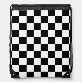black and white chequered pattern drawstring backpack
