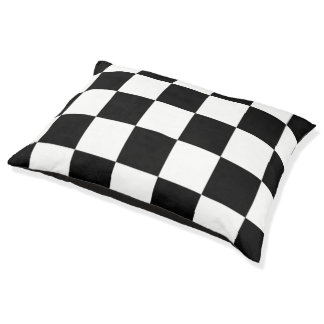 Black And White Chequered Pattern Dog Bed