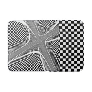 black and White Chequered Swirl Bathmat