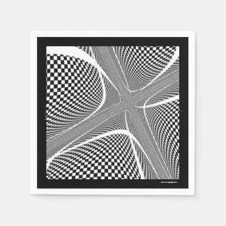 Black and White Chequered Swirl Disposable Serviette
