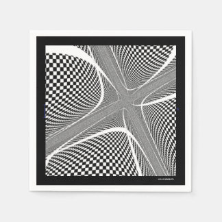 Black and White Chequered Swirl Paper Napkins