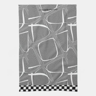Black and White Chequered Swirl Tea Towel
