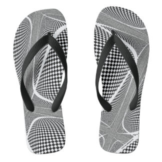 Black and White Chequered Swirl Thongs