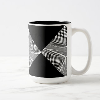 Black and White Chequered Swirl Two-Tone Coffee Mug