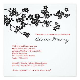 Black and White Cherry Blossoms 13 Cm X 13 Cm Square Invitation Card