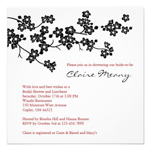 Black and White Cherry Blossoms Custom Invites