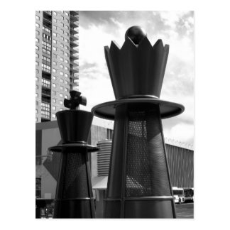 Black and white chess piece 3 postcard