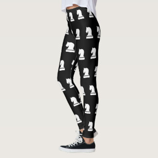 Black and white chess piece pattern leggings