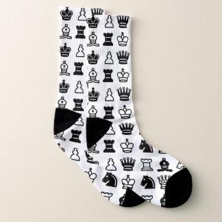 Black and White Chess Piece Pattern Socks