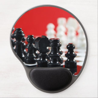 Black and white chess set gel mousepad