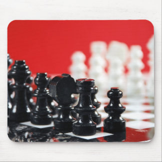 Black and white chess set mousepad