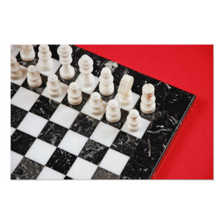 Black and white chess set print poster
