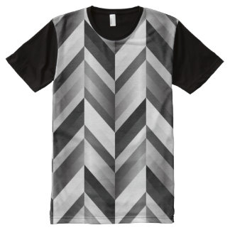 Black and White Chevron All-Over Print T-Shirt