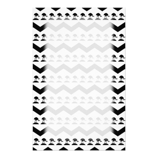 Black and White Chevron and Birds Pattern Personalized Stationery