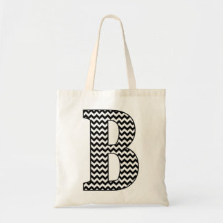 "Black and White Chevron ""B"" Monogram Tote Bag"
