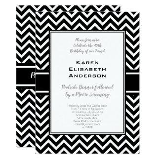 Black and White Chevron Birthday Party Card