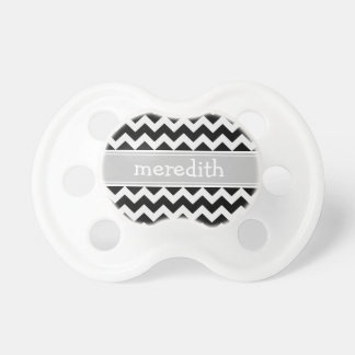 Black and White Chevron Custom Name Dummy Pacifier
