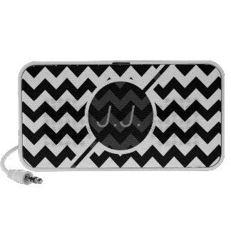Black and White Chevron - Custom Text Portable Speaker