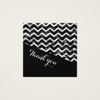 Black and white Chevron Distressed Wedding Square Business Card