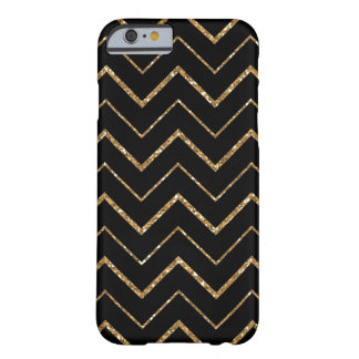 Black and White Chevron Gold Faux Glitter Barely There iPhone 6 Case