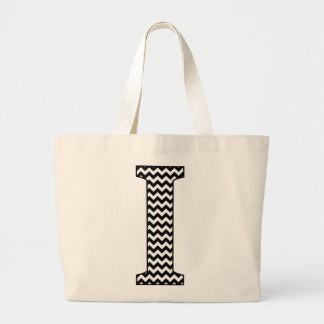 "Black and White Chevron ""I"" Monogram Tote Bag."